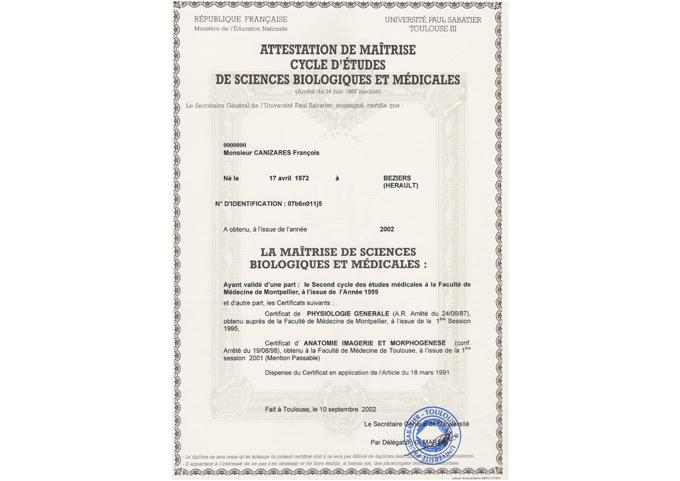 Maîtrise sciences biologiques et médicales